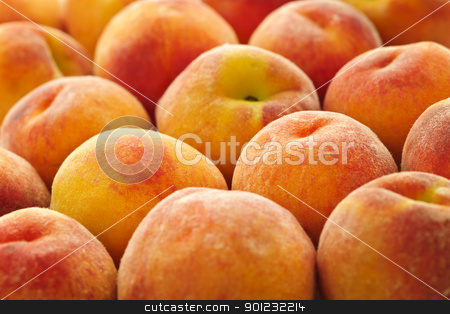 Peaches background stock photo, Ripe fresh peaches as background close up by Elena Elisseeva
