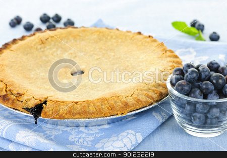 Blueberry pie stock photo, Whole baked blueberry pie with fresh  blueberries by Elena Elisseeva