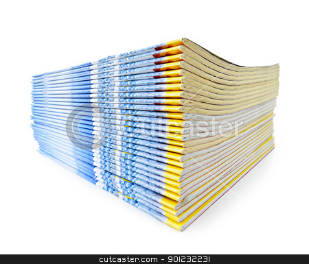 Stack of magazines stock photo, Many magazines stacked in a pile isolated on white by Elena Elisseeva