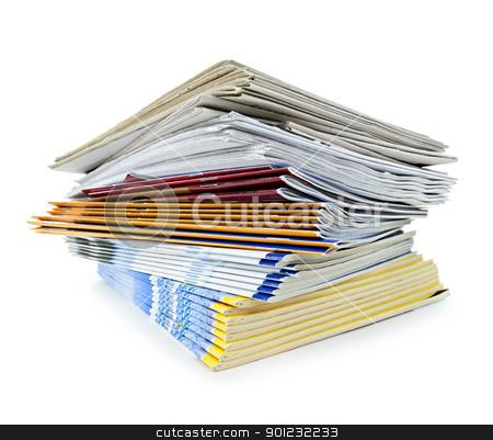 Stack of magazines and newspapers stock photo, Printed paper publications stacked in a pile isolated on white by Elena Elisseeva