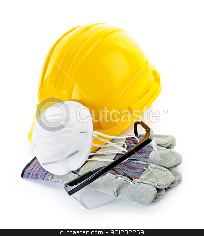 Construction safety equipment stock photo, Construction safety equipment with hard hat, respirator, goggles and gloves isolated on white by Elena Elisseeva