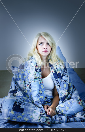 Woman insomniac stock photo, Sleepless blonde woman in bed with insomnia by Elena Elisseeva