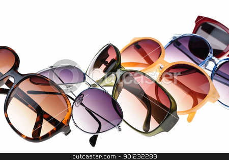 Sunglasses stock photo, Different styles of tinted sunglasses on white background by Elena Elisseeva