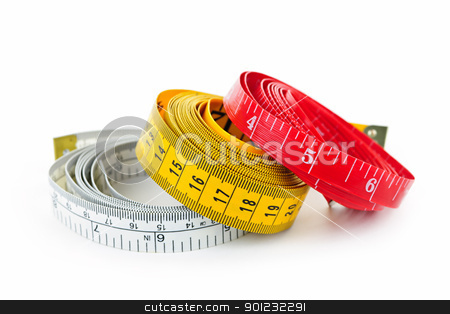 Measuring tapes stock photo, Three colorful measuring tapes coiled on white background by Elena Elisseeva