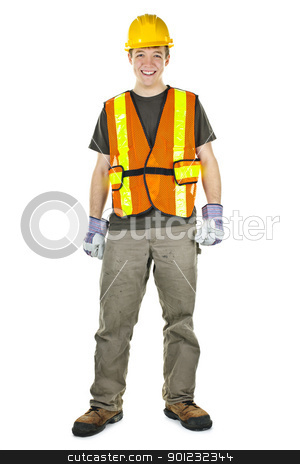 Construction worker stock photo, Happy male construction worker standing in safety vest and hard hat by Elena Elisseeva
