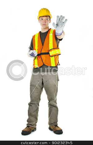 Construction worker on white background stock photo, Male construction worker directing with hand signals in vest and hard hat by Elena Elisseeva