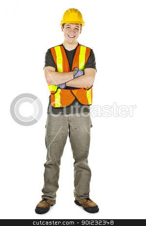 Construction worker smiling stock photo, Smiling male construction worker in safety vest and hard hat by Elena Elisseeva