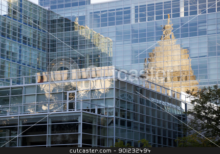 State Capitol of Wisconsin reflected stock photo, State Capitol of Wisconsin reflected in the glass building by Henryk Sadura