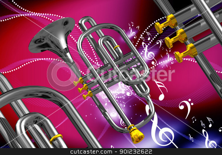 Musical instrument  stock photo, 	Digital illustration of musical instruments in color abstract background  by dileep