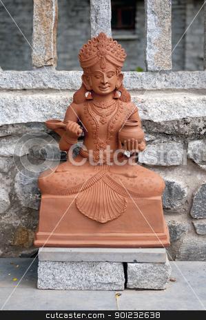 Goddess stock photo, A traditional Indian goddess made of clay at display by Arvind Balaraman
