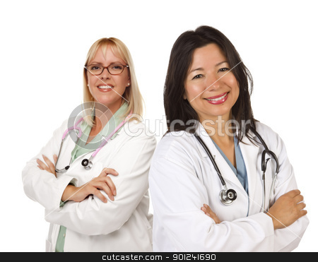 Two Female Doctors or Nurses on White stock photo, Two Female Doctors or Nurses Isolated on a White Background. by Andy Dean