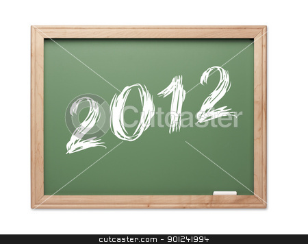 2012 Green Chalk Board stock photo, 2012 Green Chalk Board on a White Background. by Andy Dean