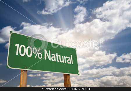 100% Natural Green Road Sign stock photo, 100% Natural Green Road Sign Against Dramatic Clouds, Sky and Sun Rays. by Andy Dean