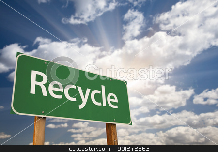 Recycle Green Road Sign stock photo, Recycle Green Road Sign Against Dramatic Clouds, Sky and Sun Rays. by Andy Dean