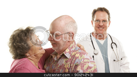 Senior Couple with Medical Doctor or Nurse Behind stock photo, Happy Loving Senior Couple with Smiling Medical Doctor or Nurse Behind Isolated on a White Background. by Andy Dean