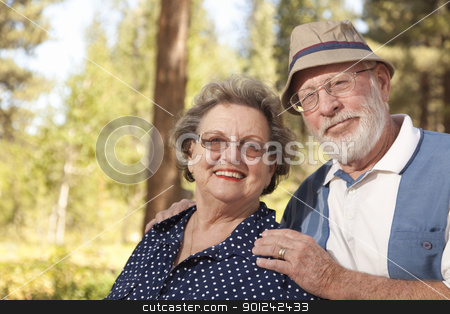 Loving Senior Couple Outdoors Portrait stock photo, Loving Senior Couple Enjoying the Outdoors Together. by Andy Dean