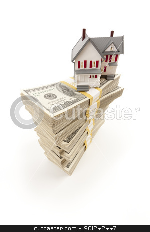 Small House on Stacks of Hundred Dollar Bills stock photo, Small House on Stacks of Hundred Dollar Bills Isolated on a White Background. by Andy Dean