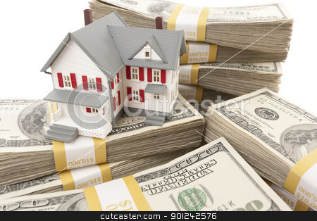 Small House with Stacks of Hundred Dollar Bills stock photo, Small House with Stacks of Hundred Dollar Bills on White. by Andy Dean