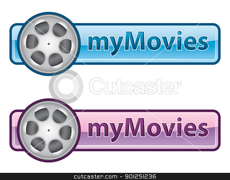 myMovies icon stock vector clipart, Blue and pink icon with film reel by matteogamba