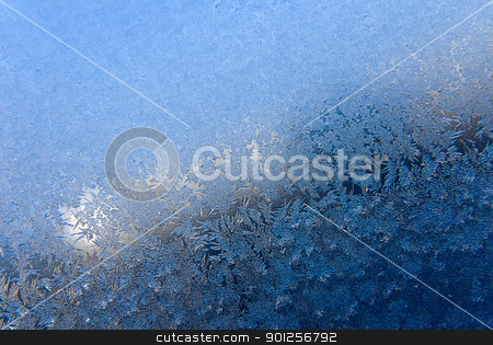 Frosty patterns stock photo, Formation of snow patterns on glass closeup by Imaster