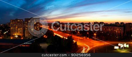 Panoramic night city stock photo, Panoramic night city. Beautiful city evening landscape by Imaster