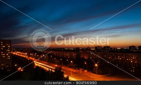 Night city stock photo, Beautiful city evening landscape by Imaster