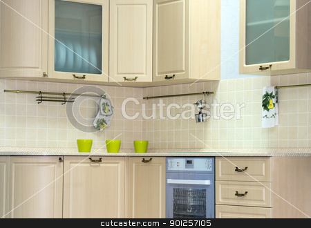 Classic kitchen interior stock photo, Tranquil classic kitchen interior in new home by Imaster