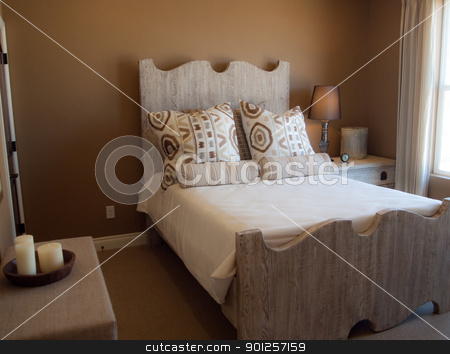bed room stock photo, Rustic bedroom with brown walls and wooden bed frame by Cora Reed