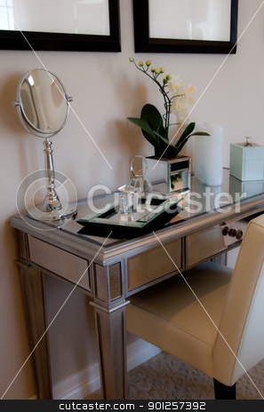 Dressing table stock photo, Little mirrored dressing table by Cora Reed