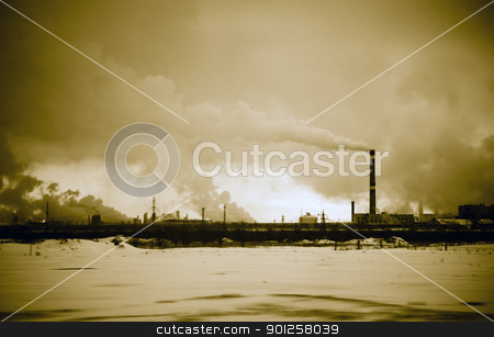 Environmental problem stock photo, Industrial district. The smoke comes from the pipes by Imaster