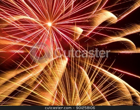 Fire works stock photo, Colorful fire works for Independence day (4th of July) or New Years Eve by Cora Reed