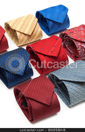 Varicoloured male ties stock photo, Varicoloured male ties convolute on white background by Ruslan Kudrin