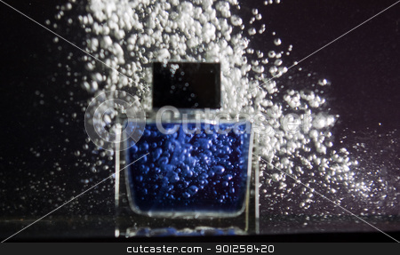 Luxury blue container deodorant stock photo, Luxury blue container deodorant on a dynamic bubbles background by Imaster
