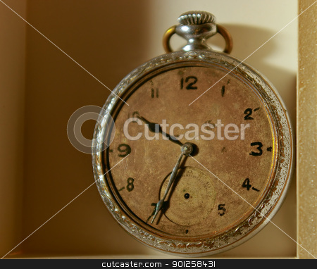Old clock stock photo, The old, scratched hours without a glass and arrow by Imaster