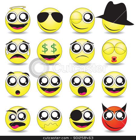 smileys stock vector clipart, vector set of various smileys by Emir Simsek