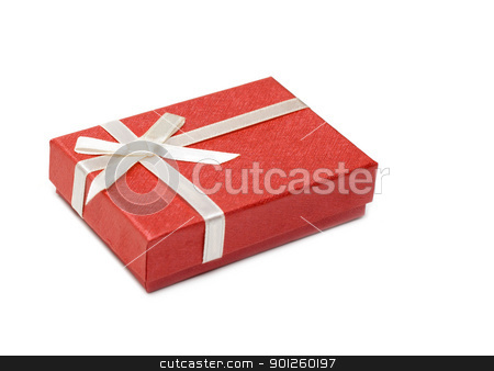 Red gift box stock photo, Red gift box, silvery bow isolated on white background by Ruslan Kudrin