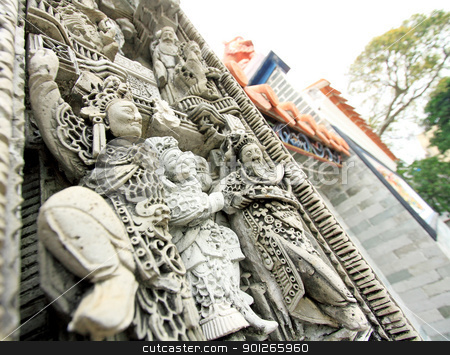 Native molding art on wall in temple.  stock photo, Native molding art on wall in temple.  by Keng po Leung