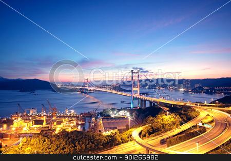 highway bridge at night  stock photo, highway bridge at night in hong kong by Keng po Leung