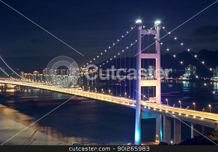 traffic highway bridge at night stock photo, traffic highway bridge at night,hong kong by Keng po Leung