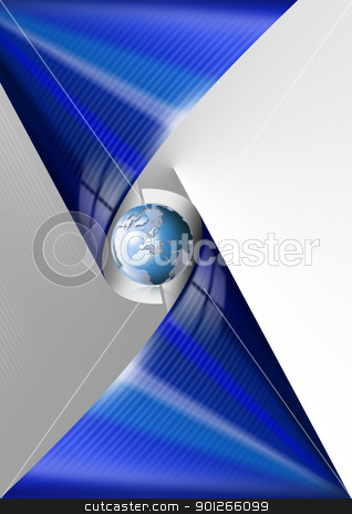 Blue global business stock photo, Background with globe and blue abstract forms by catalby