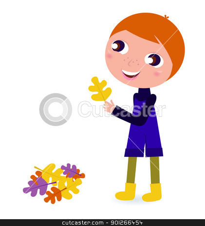 Cute little autumn Boy holding leaf stock vector clipart, Happy cute Boy with autumn Leaves isolated on white. Vector cartoon Illustration.  by BEEANDGLOW