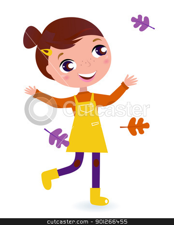 Cute running Child with Autumn Leaves isolated on white stock vector clipart, Adorable running Girl with Autumn Leaves. Vector cartoon Illustration.  by BEEANDGLOW