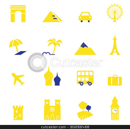 Travel, vacation & landmarks icons collection isolated on white  stock vector clipart, Yellow and blue vector travel and vacation design elements.   by BEEANDGLOW