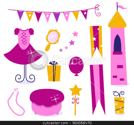 Cute elements for Little Princess Party isolated on white stock vector clipart, Vector collection of design elements for Princess Party.  by BEEANDGLOW