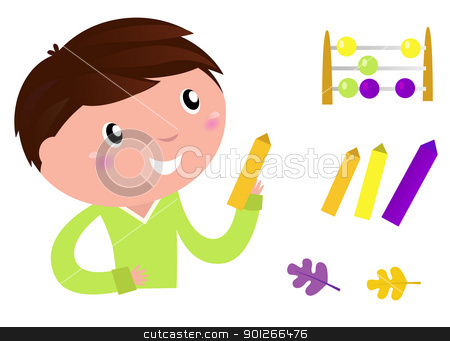 Back to school: Little boy with education items isolated on whit stock vector clipart, Cute Little Boy with School accessories. Vector cartoon Illustration.  by BEEANDGLOW