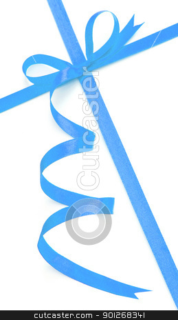 Blue bow and ribbon stock photo, Blue bow and ribbon by Lasse Kristensen@gmail.com