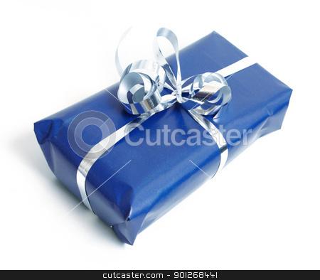 Blue present stock photo, Blue present by Lasse Kristensen@gmail.com