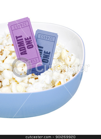 Popcorn and movie tickets stock photo, Popcorn and movie tickets by Lasse Kristensen@gmail.com