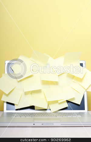 Notes on laptop stock photo, Yellow notes on a laptop screen by Lasse Kristensen@gmail.com
