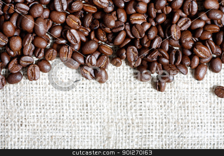 Coffee beans stock photo, Coffee beans on a coffee bag by Lasse Kristensen@gmail.com